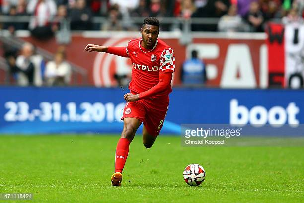 Jonathan Tah of Duesseldorf runs with the ball during the Second Bundesliga match between Fortuna Duesseldorf and 1860 Muenchen at EspritArena on...
