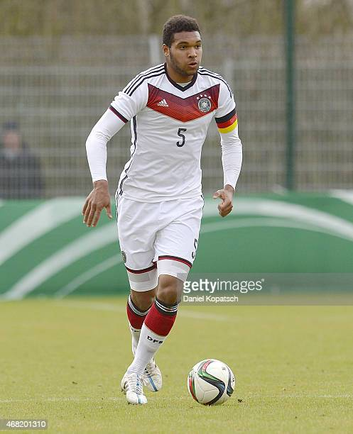 Jonathan Tah of Germany controls the ball during the UEFA Under19 Elite Round match between Germany and Czech Republic on March 31 2015 in Walldorf...