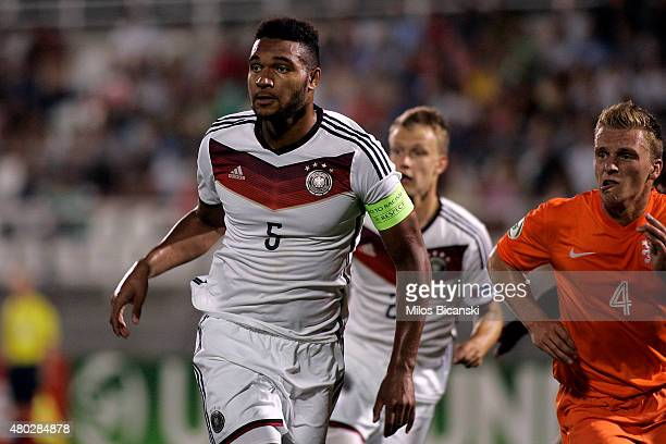 Jonathan Tah of Germany during the UEFA U19 Championship 2015 final tournament match between Netherlands vs Germany on July 10 2015 in Katerini Greece