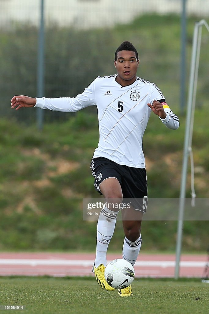Jonathan Tah of Germany in action during the Under17 Algarve Youth Cup match between U17 Portugal and U17 Germany at the Stadium Bela Vista on February 12, 2013 in Parchal, Portugal.