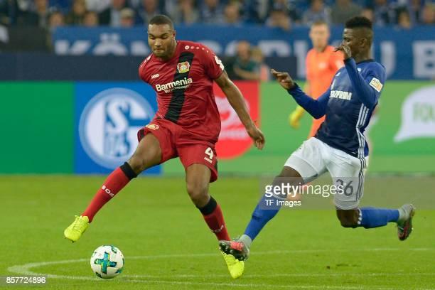 Jonathan Tah of Leverkusen and Breel Embolo of Schalke battle for the ball during the Bundesliga match between FC Schalke 04 and Bayer 04 Leverkusen...