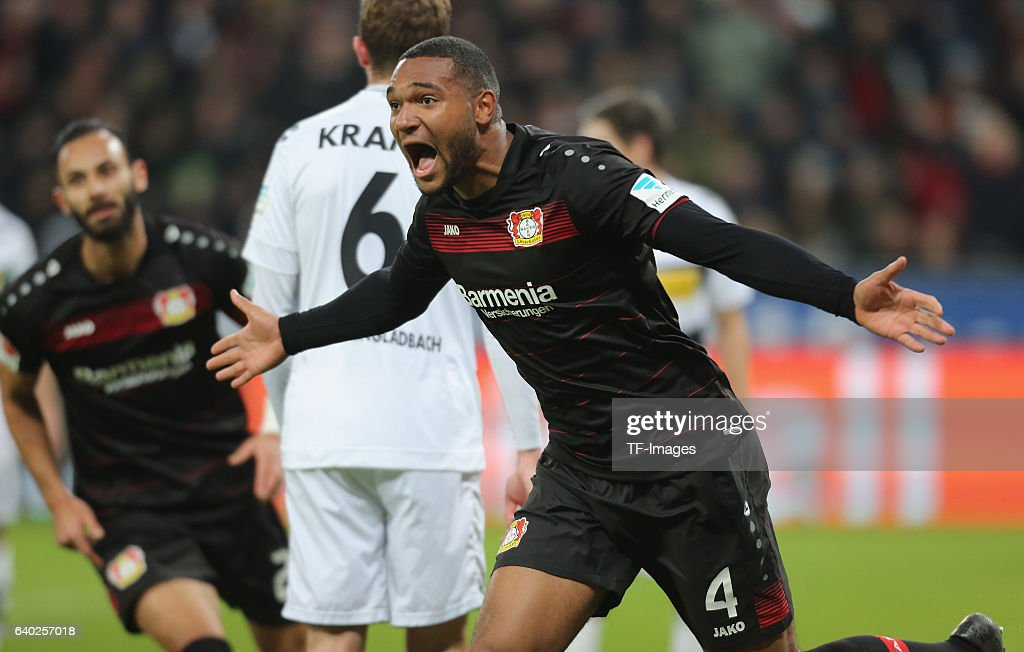 Jonathan Tah of Leverkusen celebrates his goal during the Bundesliga match between Bayer 04 Leverkusen and Borussia Moenchengladbach at BayArena on January 28, 2017 in Leverkusen, Germany.