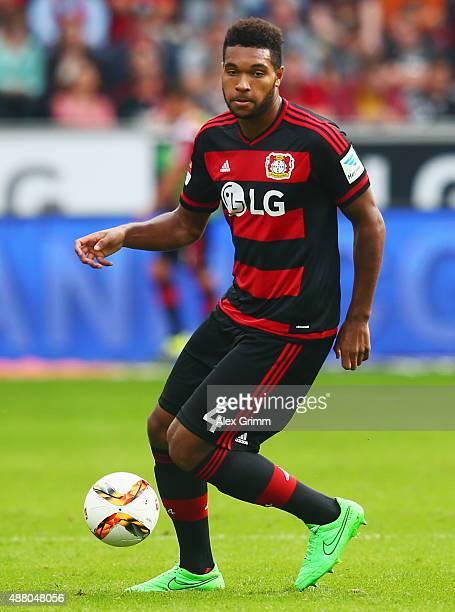 Jonathan Tah of Leverkusen controles the ball during the Bundesliga match between Bayer Leverkusen and SV Darmstadt 98 at BayArena on September 12...