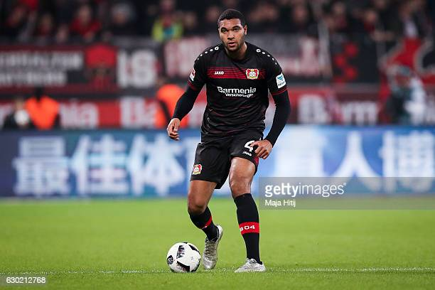Jonathan Tah of Leverkusen controls the ball during the Bundesliga match between Bayer 04 Leverkusen and FC Ingolstadt 04 at BayArena on December 18...