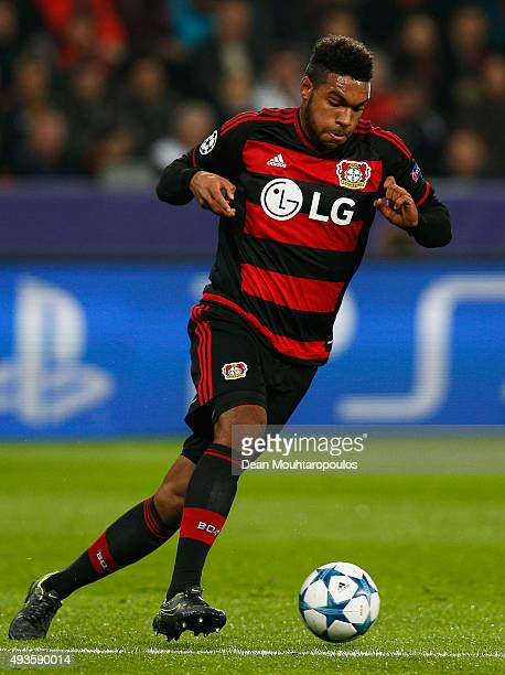 Jonathan Tah of Leverkusen in action during the UEFA Champions League Group E match between Bayer 04 Leverkusen and AS Roma at BayArena on October 20...