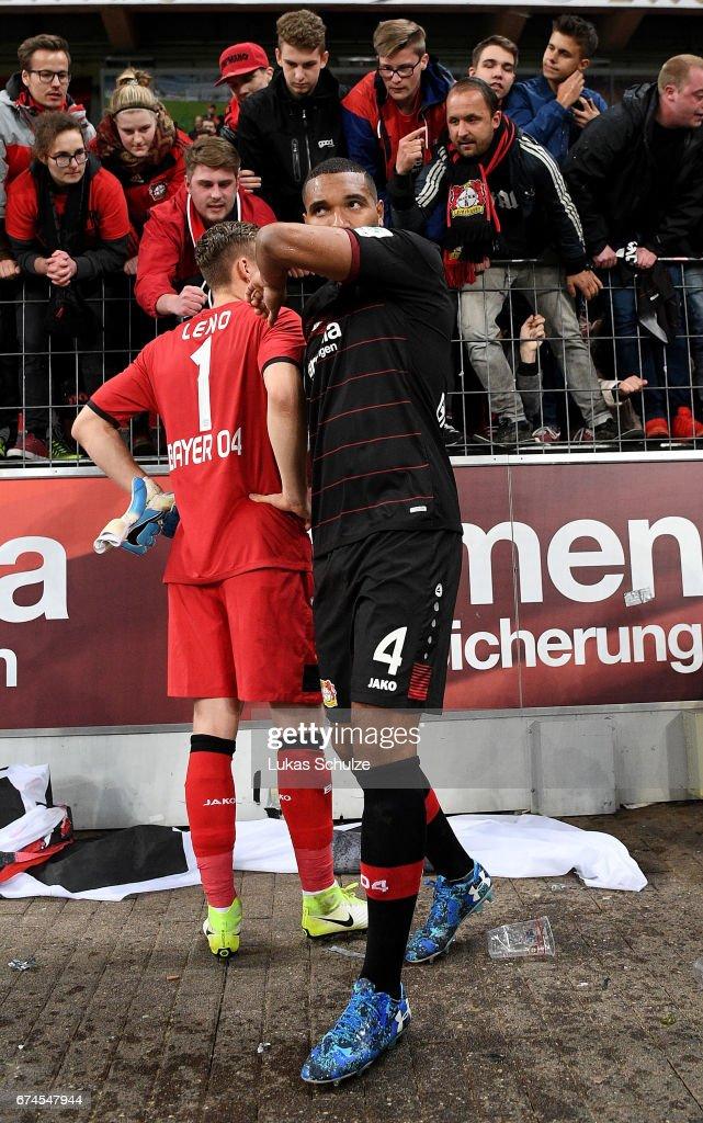 Jonathan Tah of Leverkusen looks dejected after the Bundesliga match between Bayer 04 Leverkusen and FC Schalke 04 at BayArena on April 28, 2017 in Leverkusen, Germany.