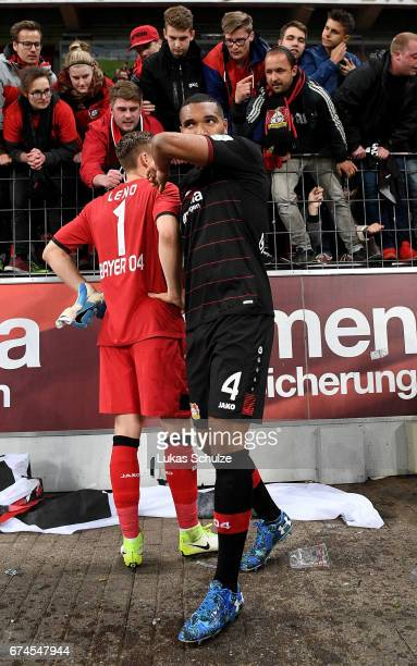 Jonathan Tah of Leverkusen looks dejected after the Bundesliga match between Bayer 04 Leverkusen and FC Schalke 04 at BayArena on April 28 2017 in...