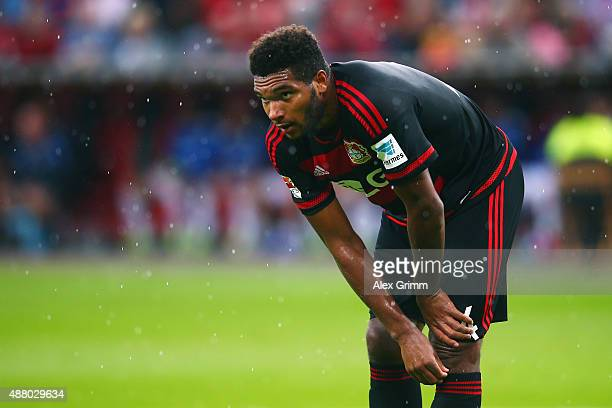 Jonathan Tah of Leverkusen reacts during the Bundesliga match between Bayer Leverkusen and SV Darmstadt 98 at BayArena on September 12 2015 in...