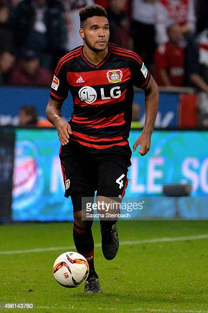 Jonathan Tah of Leverkusen runs with the ball during the Bundesliga match between Bayer Leverkusen and 1 FC Koeln at BayArena on November 7 2015 in...
