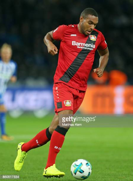 Jonathan Tah of Leverkusen runs with the ball during the Bundesliga match between Hertha BSC and Bayer 04 Leverkusen at Olympiastadion on September...