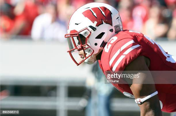 Jonathan Taylor of the Wisconsin Badgers lines up against the Maryland Terrapins at Camp Randall Stadium on October 21 2017 in Madison Wisconsin