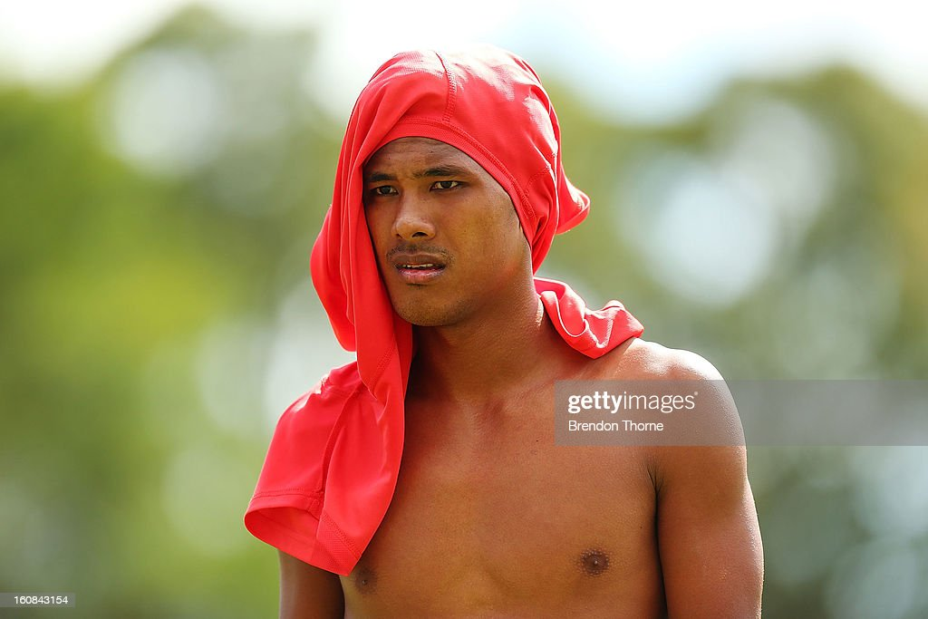 Jonathan Tehau of Tahiti walks off the field at half time during the friendly match between Sydney FC and Tahiti at Macquarie Uni on February 6, 2013 in Sydney, Australia.