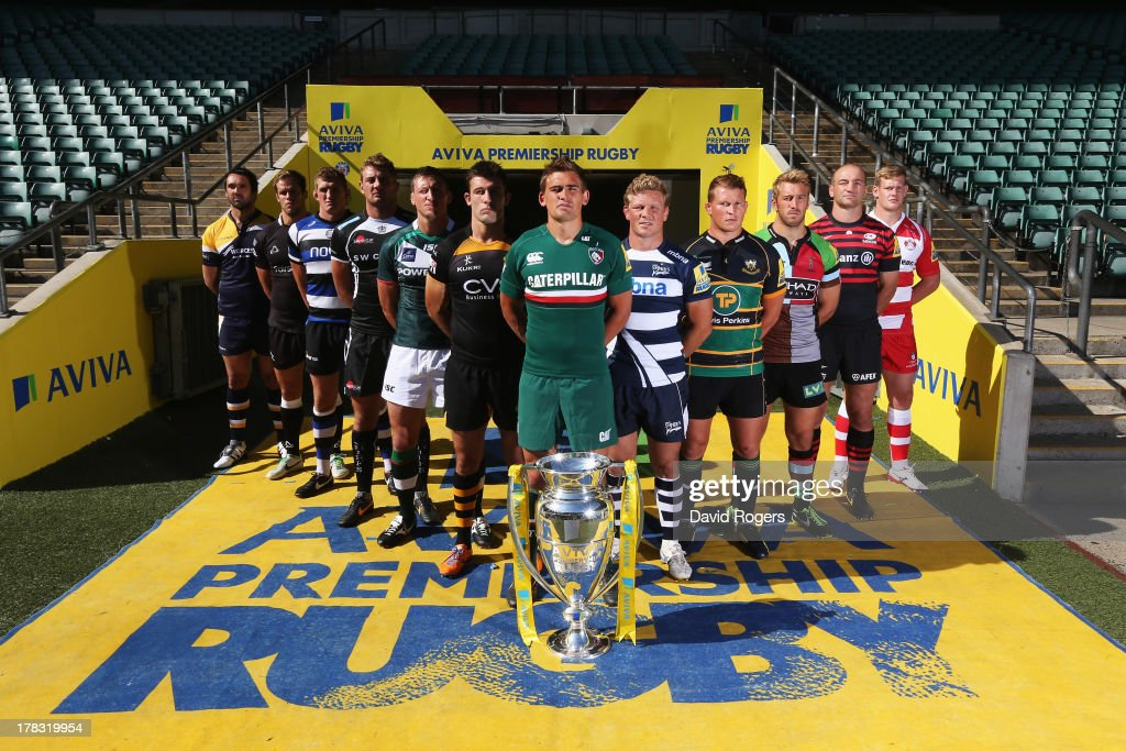 Jonathan Thomas of the Worcester Warriors Will Welch of the Newcastle Falcons Stuart Hooper of Bath Dean Mumm of the Exeter Chiefs Declan Danaher of...