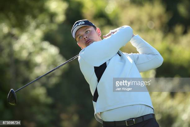 Jonathan Thomson of England in action during round three of the European Tour Qualifying School Final Stage at Lumine Golf Club on November 13 2017...