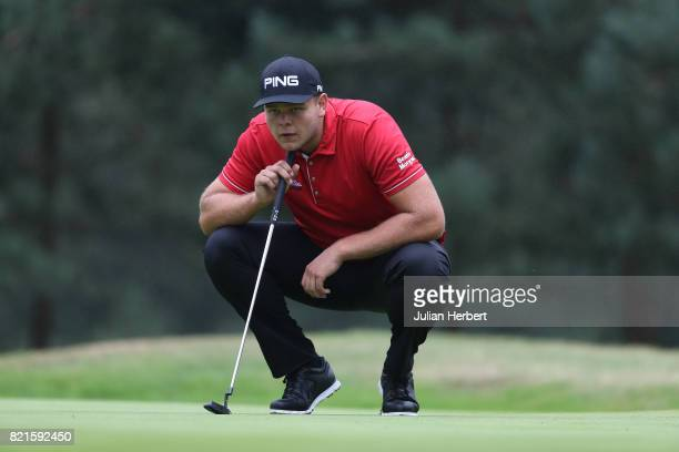 Jonathan Thomson of England plays a shot during The Berenberg Gary Player Invitational 2017 at Wentworth Club on July 24 2017 in London England
