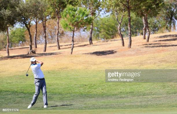 Jonathan Thomson of England plays his second shot on the 5th hole during day three of the Portugal Masters at Dom Pedro Victoria Golf Club on...