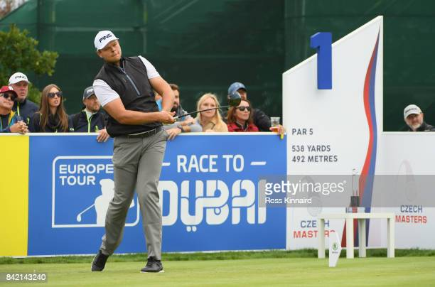 Jonathan Thomson of England tees off on the 1st hole looks on during the final round on day four of the DD REAL Czech Masters at Albatross Golf...