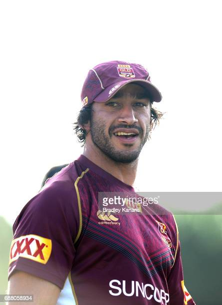Jonathan Thurston is seen during a Queensland Maroons State of Origin media opportunity at InterContinental Sanctuary Cove Resort Training Field on...