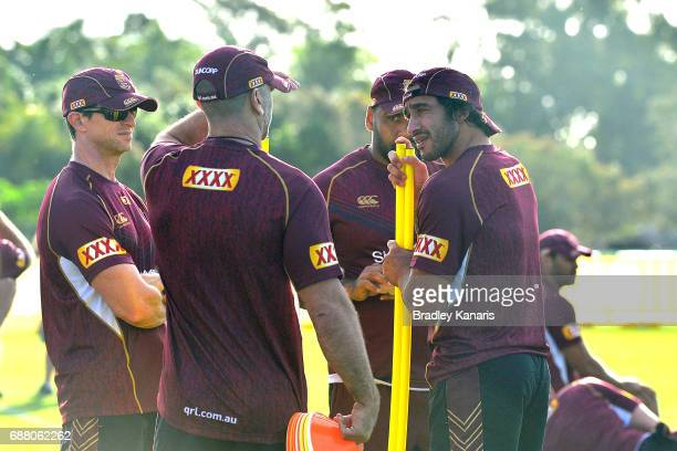 Jonathan Thurston is seen during a Queensland Maroons State of Origin training session at InterContinental Sanctuary Cove Resort Training Field on...