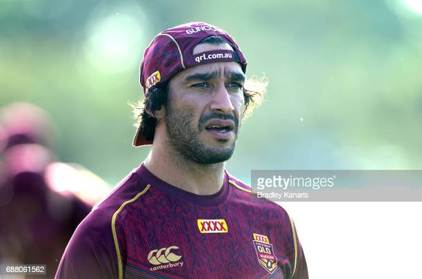 Jonathan Thurston is seen during a training session at InterContinental Sanctuary Cove Resort Training Field on May 25 2017 in Gold Coast Australia