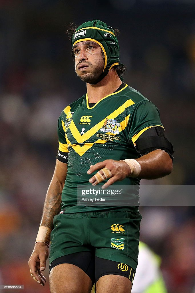 Jonathan Thurston of the Kangaroos looks on during the International Rugby League Trans Tasman Test match between the Australian Kangaroos and the New Zealand Kiwis at Hunter Stadium on May 6, 2016 in Newcastle, Australia.