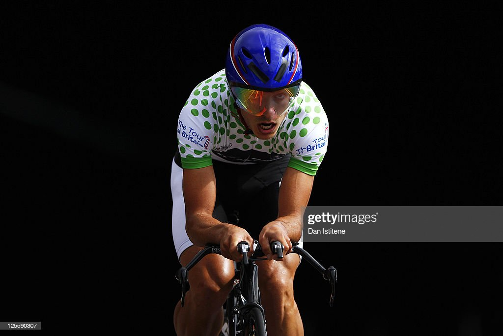 Jonathan Tiernan Locke of Great Britain and team Rapha Condor - Sharp emerges from a tunnel in Lower Thames Street as he competes in the Individual Time Trial during Stage Eight of the Tour of Britain on September 18, 2011 in London, England.