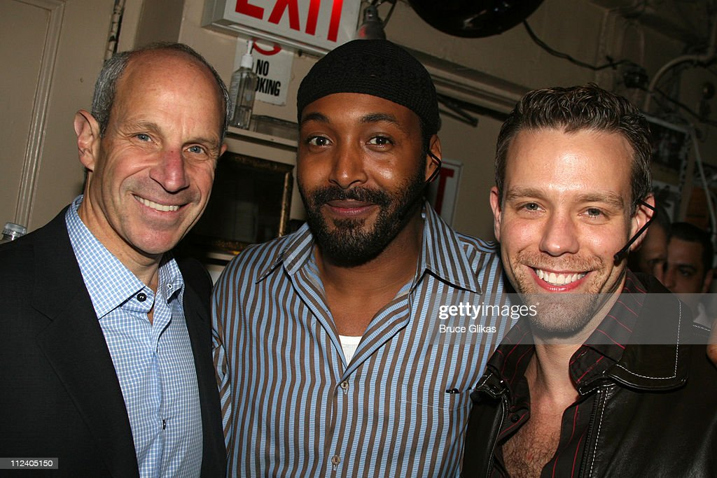Jonathan Tisch Jesse L Martin and Adam Pascal during 'Rent' Celebrates 10th Anniversary on Broadway April 24 2006 at The Nederlander Theater in New...