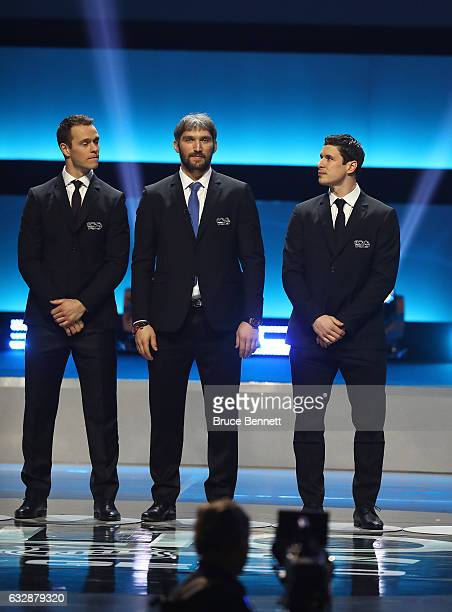 Jonathan Toews Alex Ovechkin and Sidney Crosby on stage during the NHL 100 presented by GEICO Show as part of the 2017 NHL AllStar Weekend at the...