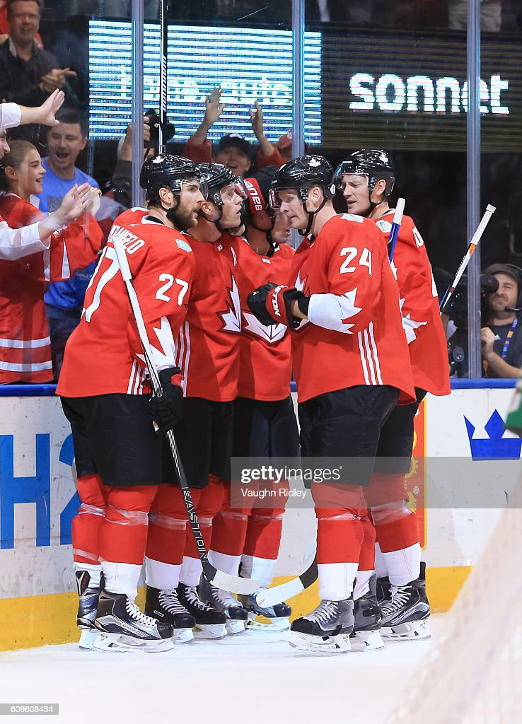 Jonathan Toews #16 celebrates with Alex Pietrangelo #27, Corey Perry #24 and Jay Bouwmeester #4 of Team Canada after scoring a second period goal on Team Europe during the World Cup of Hockey 2016 at Air Canada Centre on September 21, 2016 in Toronto, Ontario, Canada.