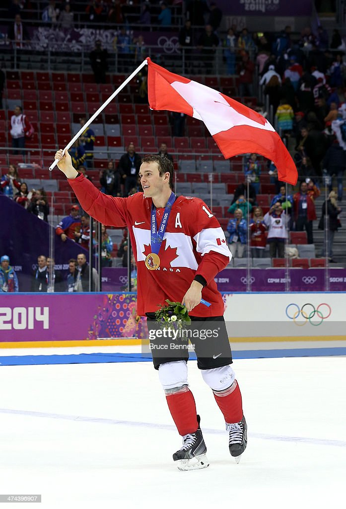 <a gi-track='captionPersonalityLinkClicked' href=/galleries/search?phrase=Jonathan+Toews&family=editorial&specificpeople=537799 ng-click='$event.stopPropagation()'>Jonathan Toews</a> #16 of Canada celebrates with his gold medal following his team's 3-0 victory during the Men's Ice Hockey Gold Medal match against Sweden on Day 16 of the 2014 Sochi Winter Olympics at Bolshoy Ice Dome on February 23, 2014 in Sochi, Russia.