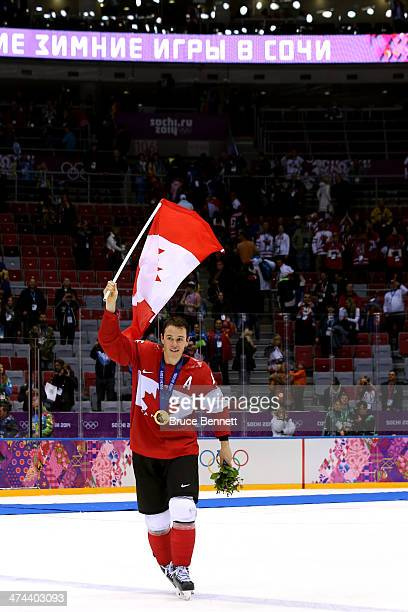 Jonathan Toews of Canada celebrates with his gold medal following his team's 30 victory during the Men's Ice Hockey Gold Medal match against Sweden...