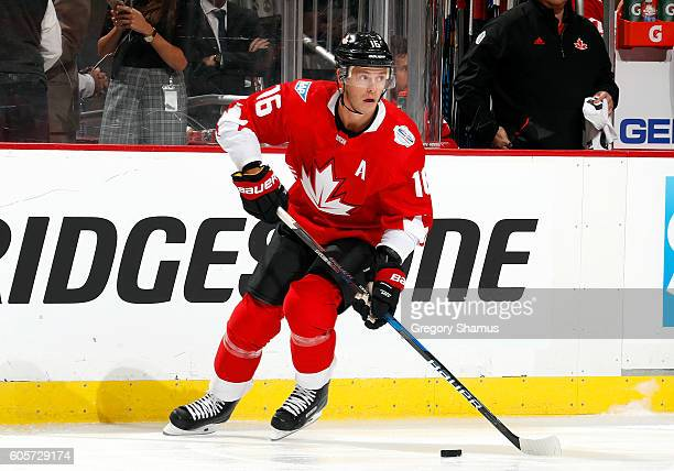 Jonathan Toews of Team Canada skates against the Team Russia at Consol Energy Center on September 14 2016 in Pittsburgh Pennsylvania