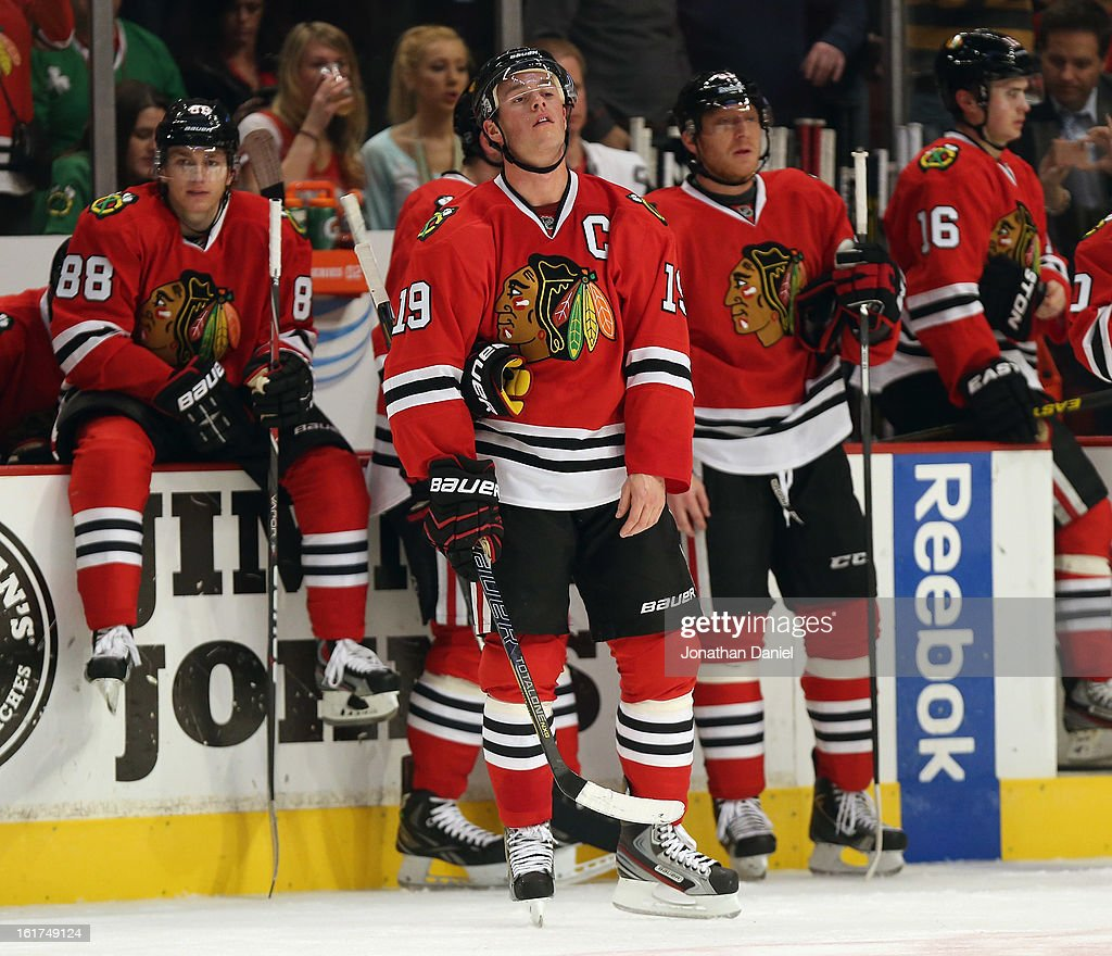<a gi-track='captionPersonalityLinkClicked' href=/galleries/search?phrase=Jonathan+Toews&family=editorial&specificpeople=537799 ng-click='$event.stopPropagation()'>Jonathan Toews</a> #19 of the Chicago Blackhawks and members of his team wait for a video replay on a goal against the Anaheim Ducks at the United Center on February 12, 2013 in Chicago, Illinois. The Ducks defeated the Blackhawks 3-2 in a shootout.