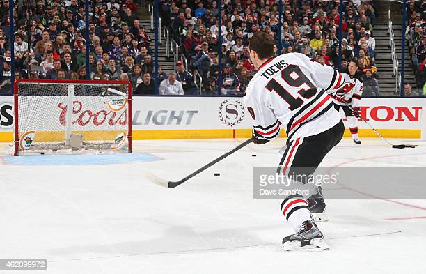Jonathan Toews of the Chicago Blackhawks and Team Toews competes in the DraftKings NHL Accuracy Shooting event of the 2015 Honda NHL AllStar Skills...