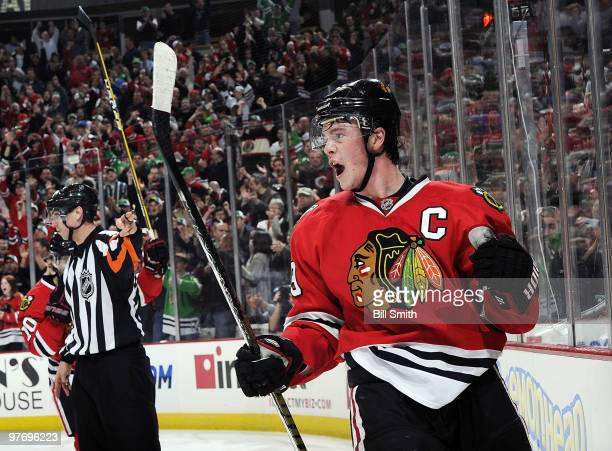 Jonathan Toews of the Chicago Blackhawks celebrates after scoring his 2nd goal in the first period against the against the Washington Capitals on...