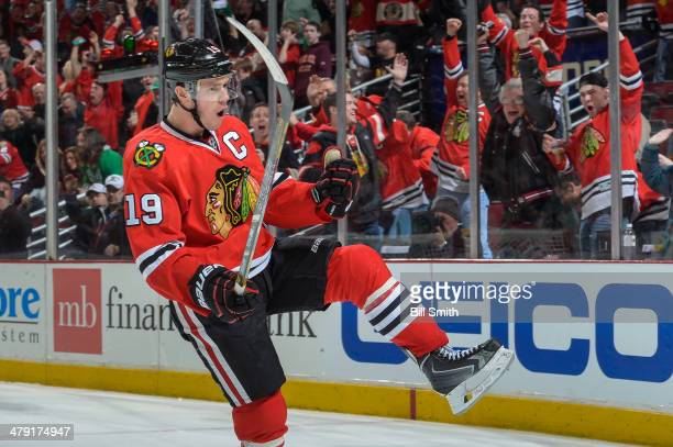 Jonathan Toews of the Chicago Blackhawks celebrates after scoring against the Detroit Red Wings in the third period during the NHL game on March 16...