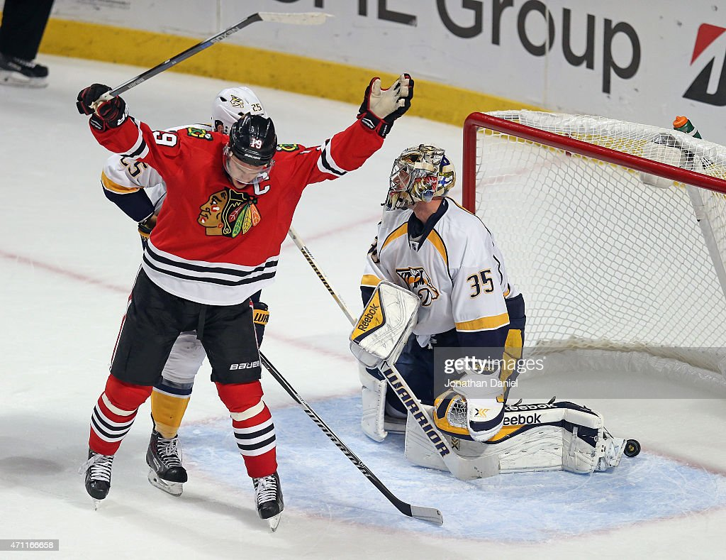 Jonathan Toews #19 of the Chicago Blackhawks celebrates after the game-winning goal gets past Pekka Rinne #35 of the Nashville Predators in the third period in Game Six of the Western Conference Quarterfinals during the 2015 NHL Stanley Cup Playoffs at the United Center on April 25, 2015 in Chicago, Illinois. The Blackhawks defeated the Predators 4-3 to win the series.