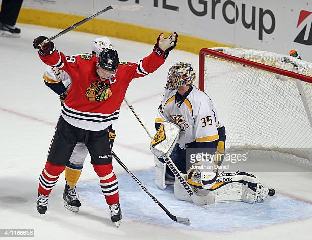 Jonathan Toews of the Chicago Blackhawks celebrates after the gamewinning goal gets past Pekka Rinne of the Nashville Predators in the third period...