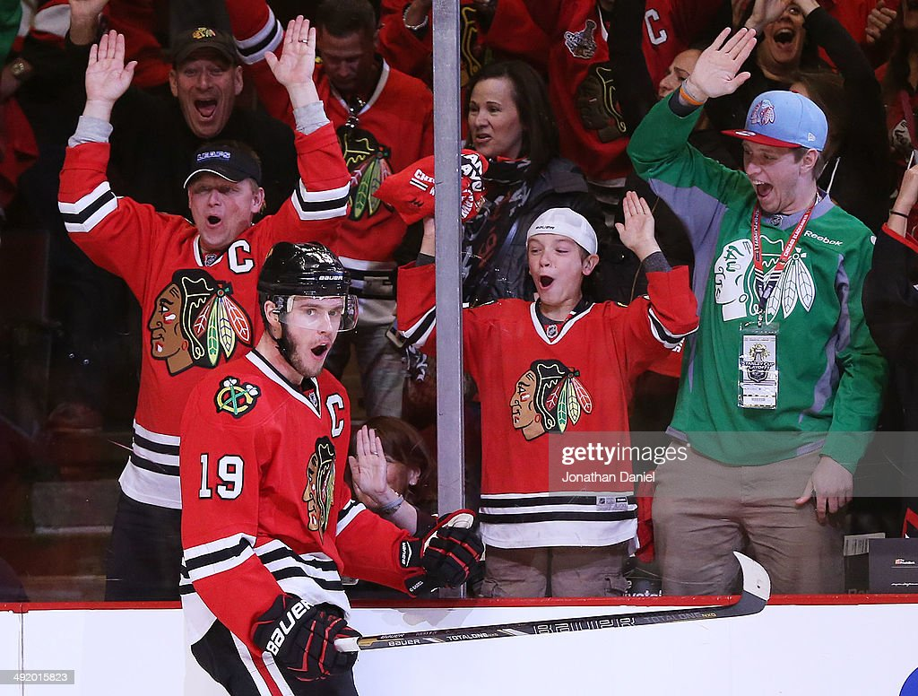 Jonathan Toews of the Chicago Blackhawks celebrates his in the third period goal against the Los Angeles Kings in Game One of the Western Conference...
