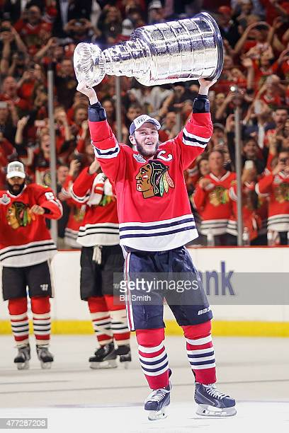 Jonathan Toews of the Chicago Blackhawks celebrates with the Stanley Cup after defeating the Tampa Bay Lightning 20 in Game Six to win the 2015 NHL...