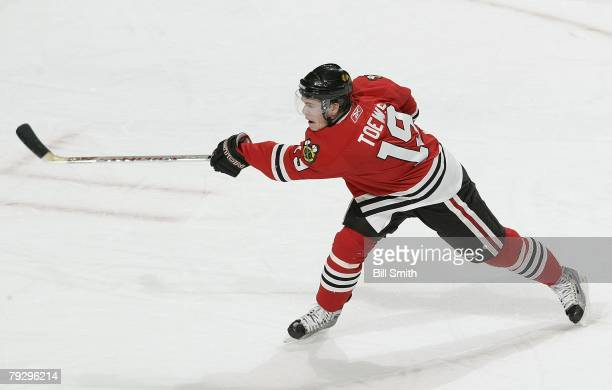 Jonathan Toews of the Chicago Blackhawks fires a shot against the Florida Panthers on December 16 2007 at the United Center in Chicago Illinois