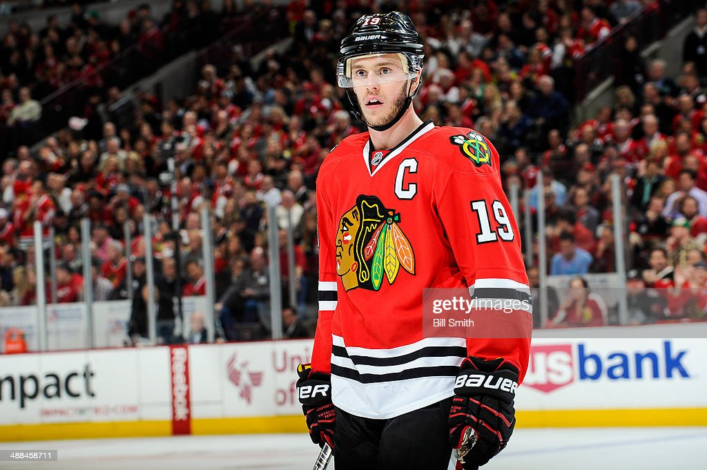 <a gi-track='captionPersonalityLinkClicked' href=/galleries/search?phrase=Jonathan+Toews&family=editorial&specificpeople=537799 ng-click='$event.stopPropagation()'>Jonathan Toews</a> #19 of the Chicago Blackhawks looks on in Game One of the Second Round of the 2014 Stanley Cup Playoffs against the Minnesota Wild at the United Center on May 2, 2014 in Chicago, Illinois.