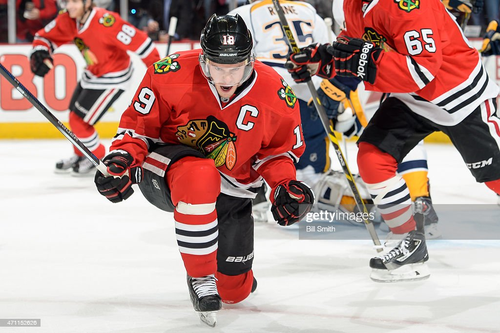 <a gi-track='captionPersonalityLinkClicked' href=/galleries/search?phrase=Jonathan+Toews&family=editorial&specificpeople=537799 ng-click='$event.stopPropagation()'>Jonathan Toews</a> #19 of the Chicago Blackhawks reacts after scoring against the Nashville Predators in the first period in Game Six of the Western Conference Quarterfinals during the 2015 NHL Stanley Cup Playoffs at the United Center on April 25, 2015 in Chicago, Illinois.