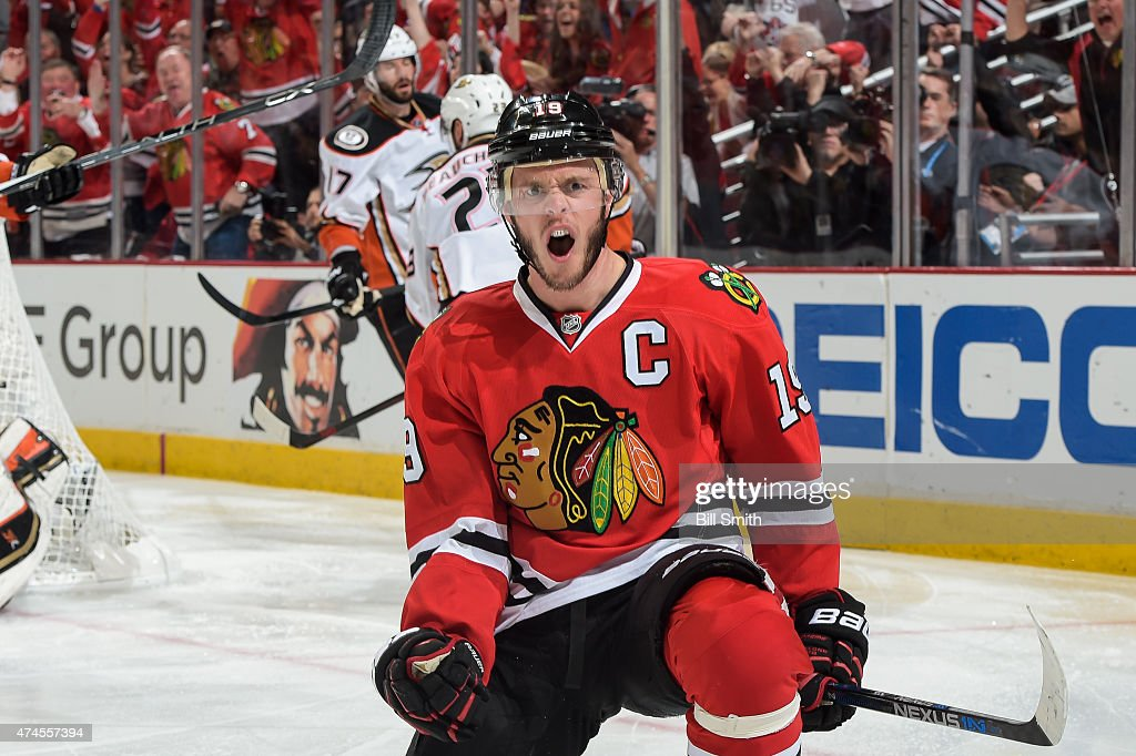 <a gi-track='captionPersonalityLinkClicked' href=/galleries/search?phrase=Jonathan+Toews&family=editorial&specificpeople=537799 ng-click='$event.stopPropagation()'>Jonathan Toews</a> #19 of the Chicago Blackhawks reacts after scoring against the Anaheim Ducks in the third period of Game Four of the Western Conference Finals during the 2015 NHL Stanley Cup Playoffs at the United Center on May 23, 2015 in Chicago, Illinois.