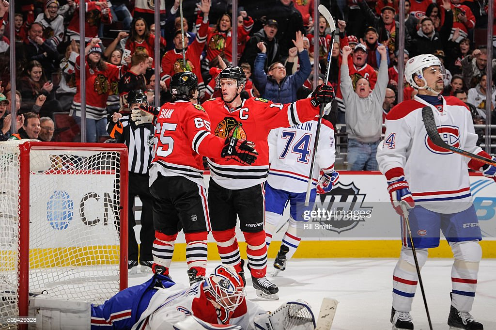 Jonathan Toews of the Chicago Blackhawks reacts after scoring on goalie Ben Scrivens of the Montreal Canadiens in the second period of the NHL game...