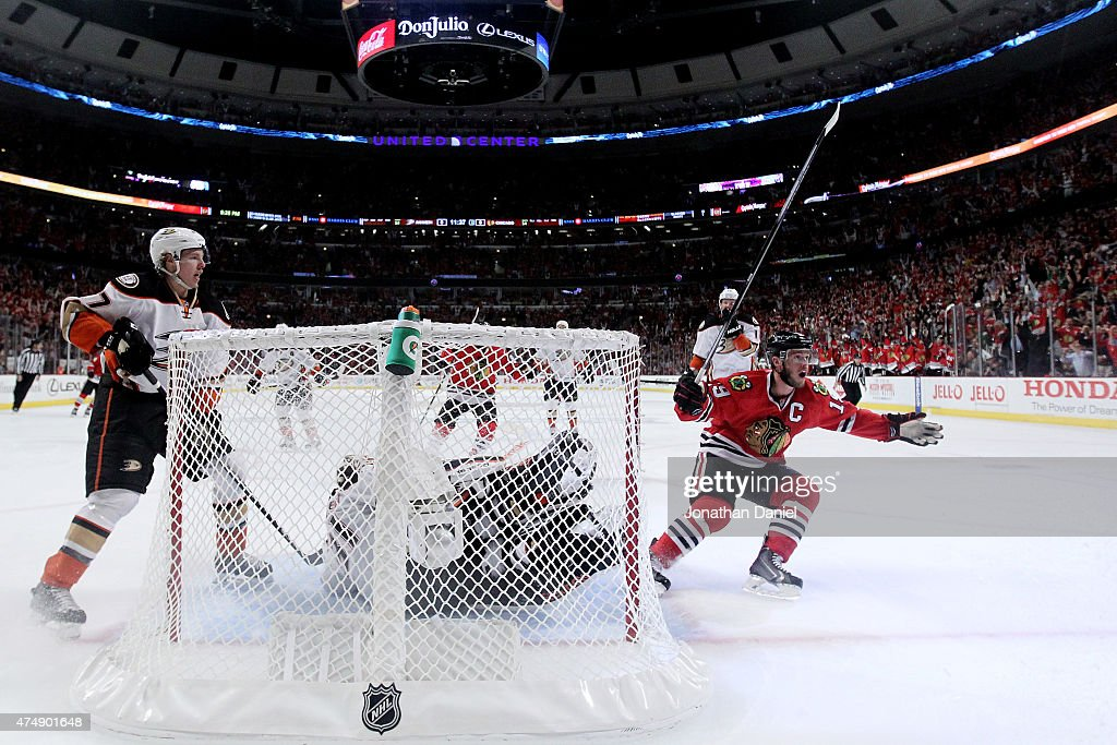 <a gi-track='captionPersonalityLinkClicked' href=/galleries/search?phrase=Jonathan+Toews&family=editorial&specificpeople=537799 ng-click='$event.stopPropagation()'>Jonathan Toews</a> #19 of the Chicago Blackhawks reacts to a second period goal scored by <a gi-track='captionPersonalityLinkClicked' href=/galleries/search?phrase=Brandon+Saad&family=editorial&specificpeople=7128385 ng-click='$event.stopPropagation()'>Brandon Saad</a> #20 against the Anaheim Ducks in Game Six of the Western Conference Finals during the 2015 NHL Stanley Cup Playoffs at the United Center on May 27, 2015 in Chicago, Illinois.