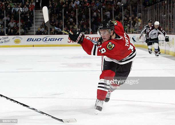 Jonathan Toews of the Chicago Blackhawks shoots the puck during a game against the Colorado Avalanche on November 11 2009 at the United Center in...