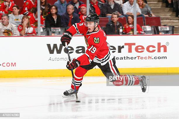 Jonathan Toews of the Chicago Blackhawks shoots the puck resulting in a goal in the second period against the Nashville Predators during Game Three...