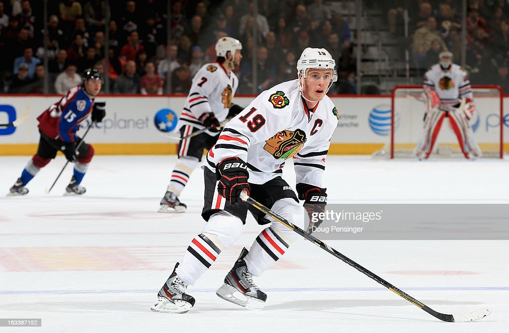 <a gi-track='captionPersonalityLinkClicked' href=/galleries/search?phrase=Jonathan+Toews&family=editorial&specificpeople=537799 ng-click='$event.stopPropagation()'>Jonathan Toews</a> #19 of the Chicago Blackhawks skates against the Colorado Avalanche at the Pepsi Center on March 8, 2013 in Denver, Colorado. The Avalanche defeated the Blackhawks 6-2 to end the Chicago's 30 game undefeated streak.