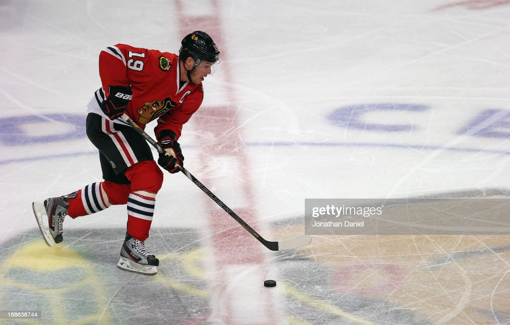 <a gi-track='captionPersonalityLinkClicked' href=/galleries/search?phrase=Jonathan+Toews&family=editorial&specificpeople=537799 ng-click='$event.stopPropagation()'>Jonathan Toews</a> #19 of the Chicago Blackhawks skates against the Minnesota Wild in Game Five of the Western Conference Quarterfinals during the 2013 NHL Stanley Cup Playoffs at the United Center on May 9, 2013 in Chicago, Illinois. The Blackhawks defeated the Wild 5-1 to win the series.